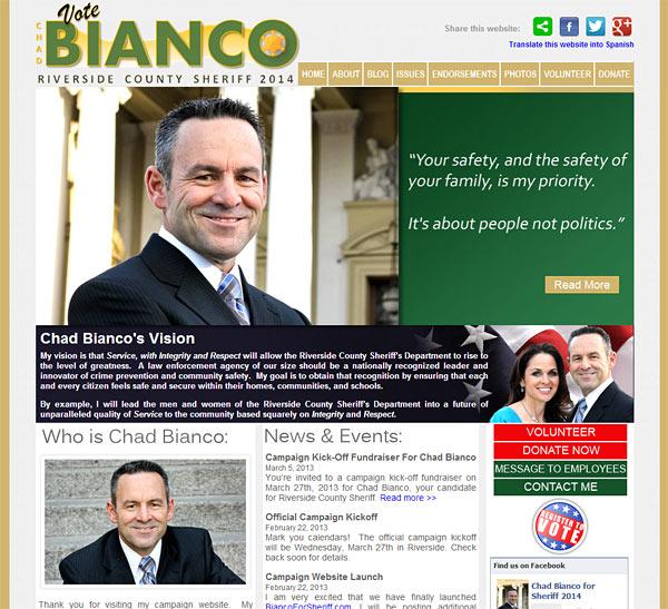Chad Bianco - Riverside Sheriff 2014 - Political Campaign Website