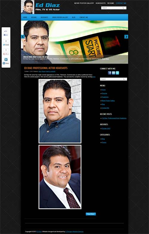 Websites for actors, design, development services - Ed Diaz