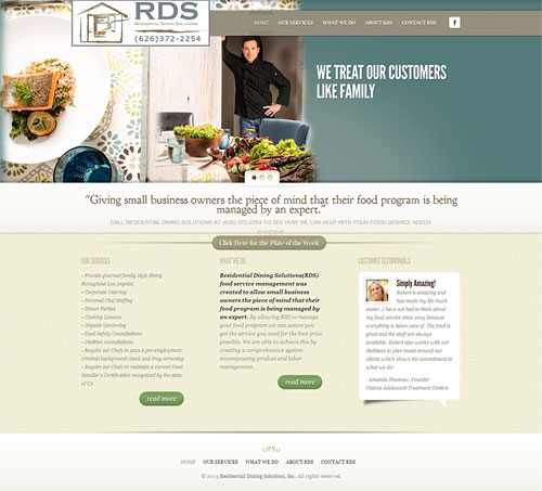 Residential Dining Solutions - Food Service - Restaurant - Website Design Development