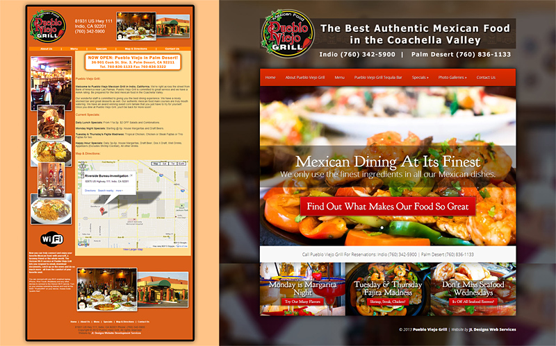 Website Redesign Comparison - Pueblo Viejo Grill - Mexican Restaurant