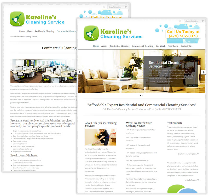 Commercial and Residential Cleaning Service Website Design