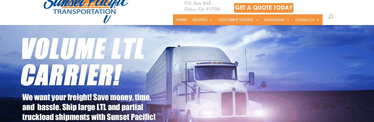 Sunset Pacific Transportation Freight Carrier Website Redesign