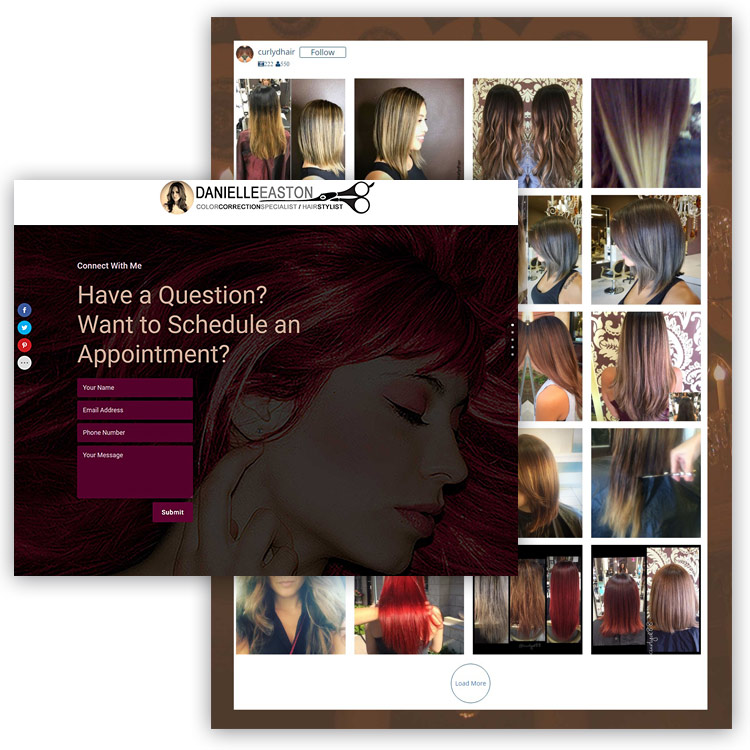 Danielle Easton - Hair Color Specialist - Hair Stylist - Lead Generating Landing Page Website