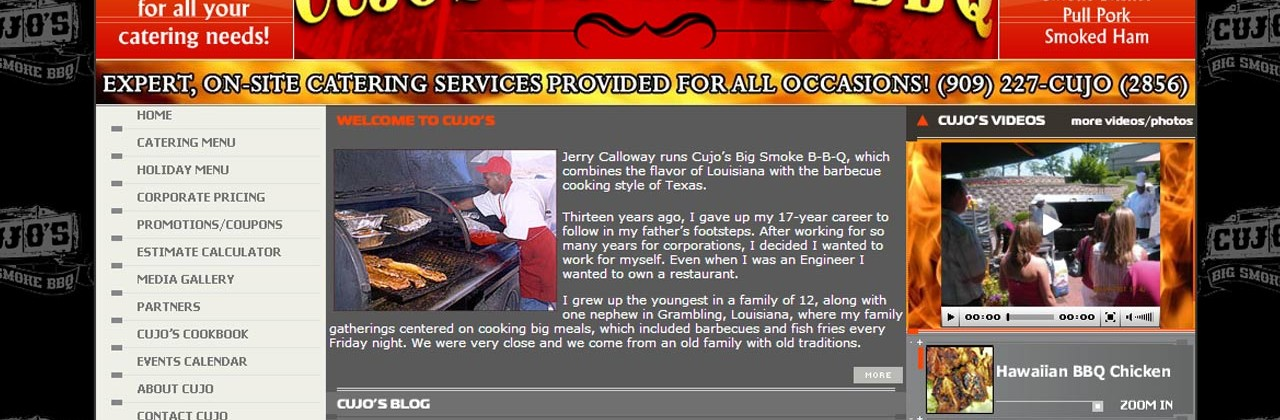 Cujos Big Smoke BBQ Catering Website