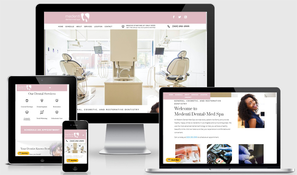 Dentistry website design for Medenti Dental Med Spa